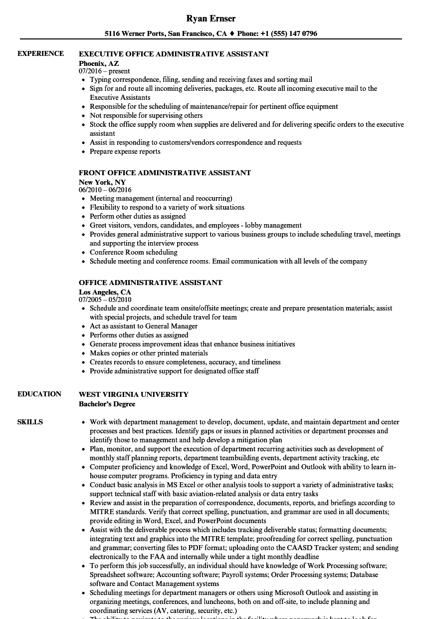 Office Administrative Assistant Resume Samples | Velvet Jobs