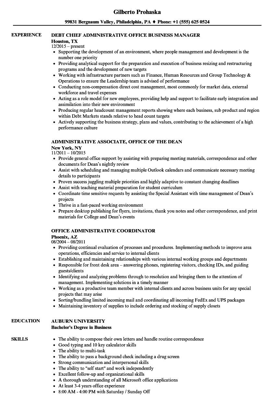 office  u0026 administrative resume samples