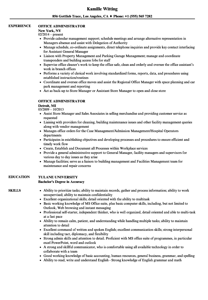 Office Administrator Resume Samples Velvet Jobs
