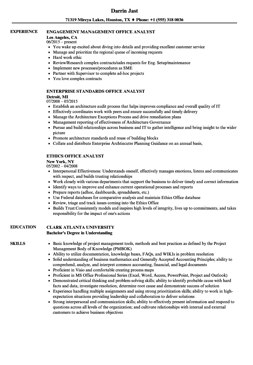 office analyst resume samples