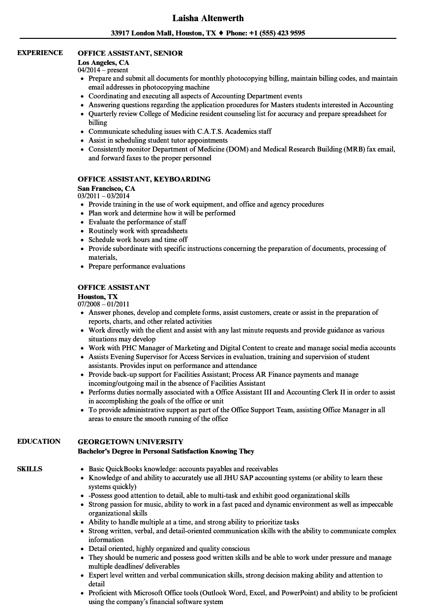 office assistant resume samples velvet jobs - Office Assistant Resume Sample