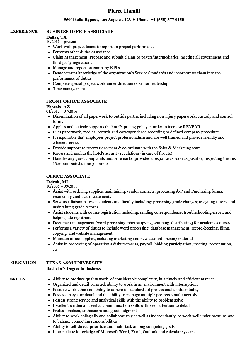 office associate resume samples velvet jobs