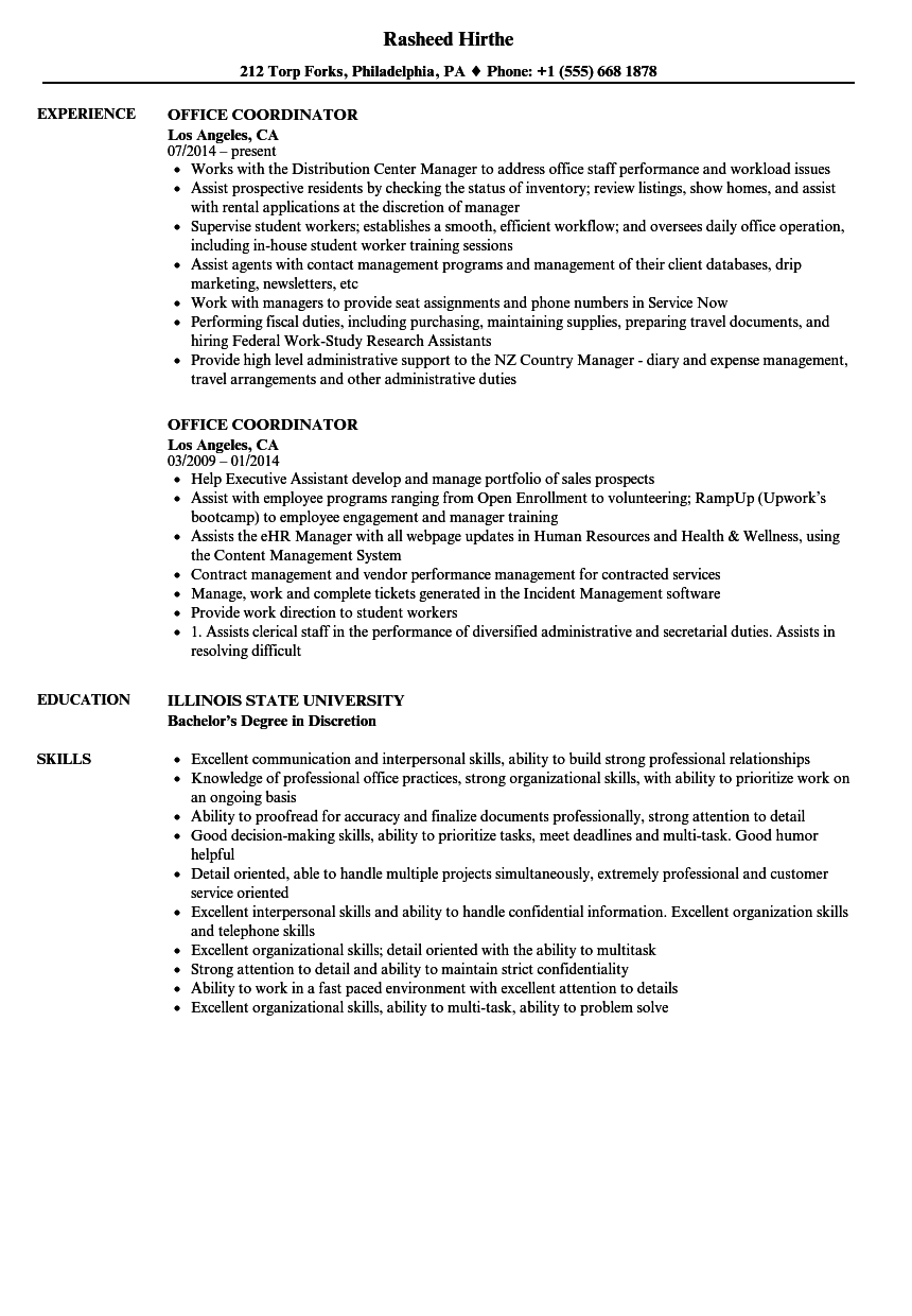 Office Coordinator Resume Samples | Velvet Jobs