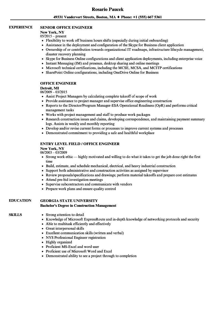 office engineer resume samples velvet jobs