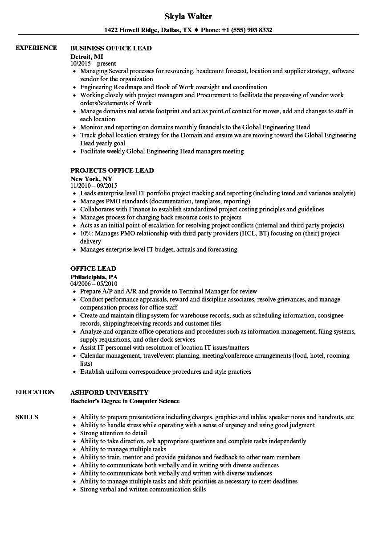 Office Lead Resume Samples | Velvet Jobs
