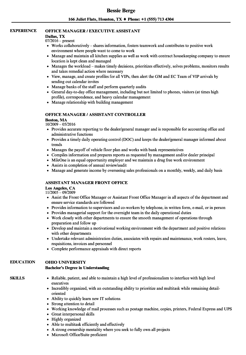 office manager assistant resume samples