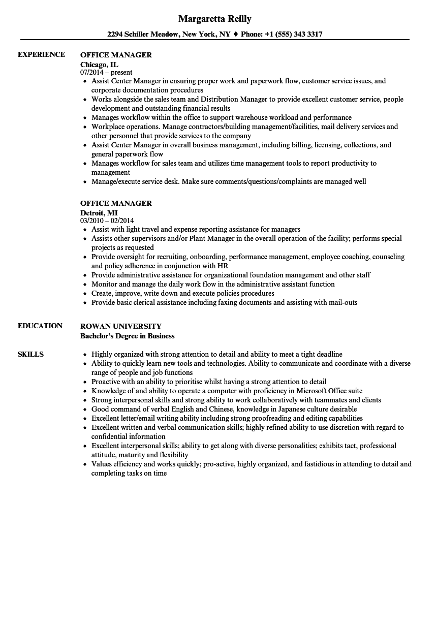 sample resume office manager experience