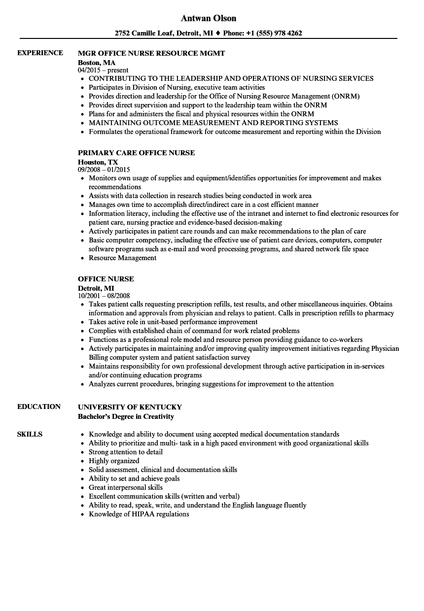Download Office Nurse Resume Sample As Image File