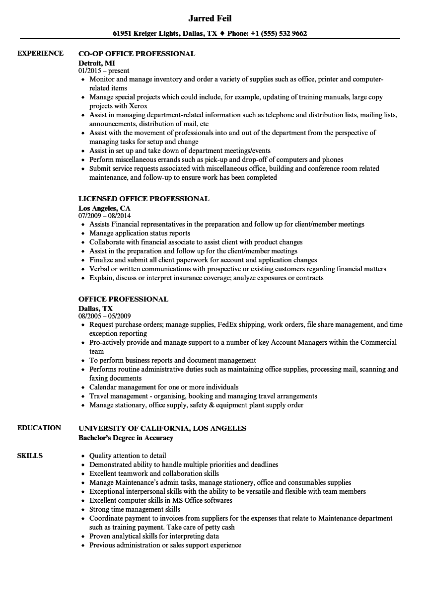 download office professional resume sample as image file