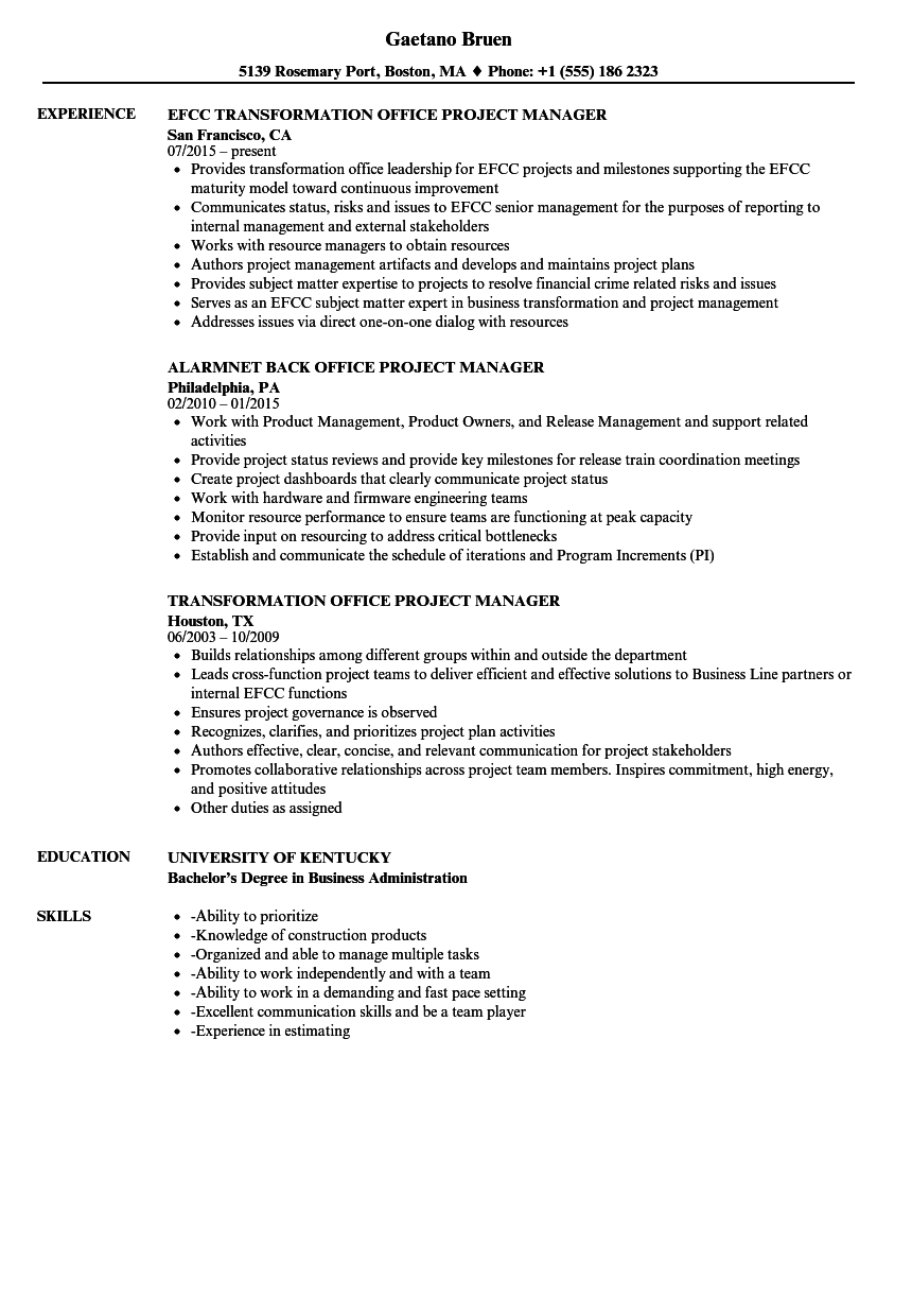 download office project manager resume sample as image file - Sample Project Manager Resumes