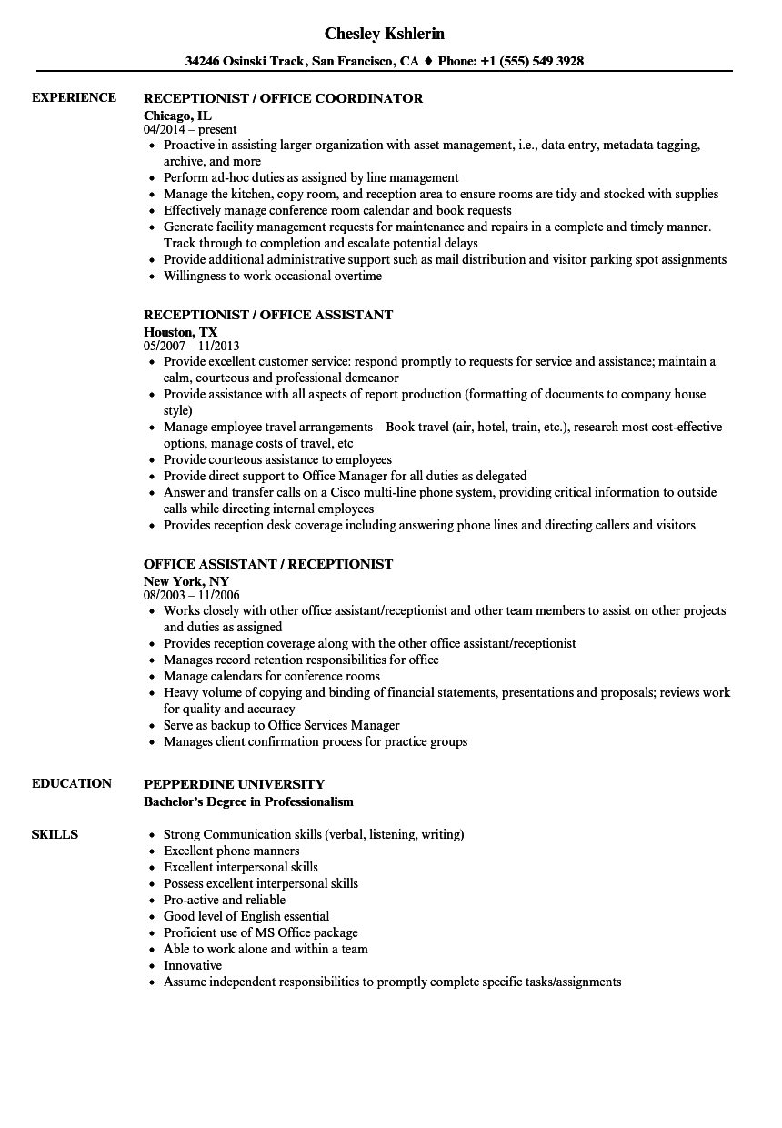 download office receptionist resume sample as image file