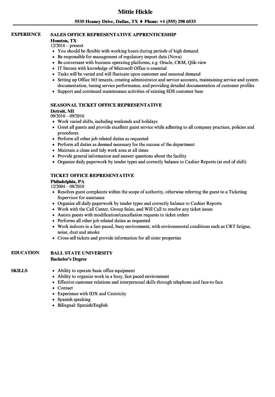 Office Representative Resume Samples | Velvet Jobs