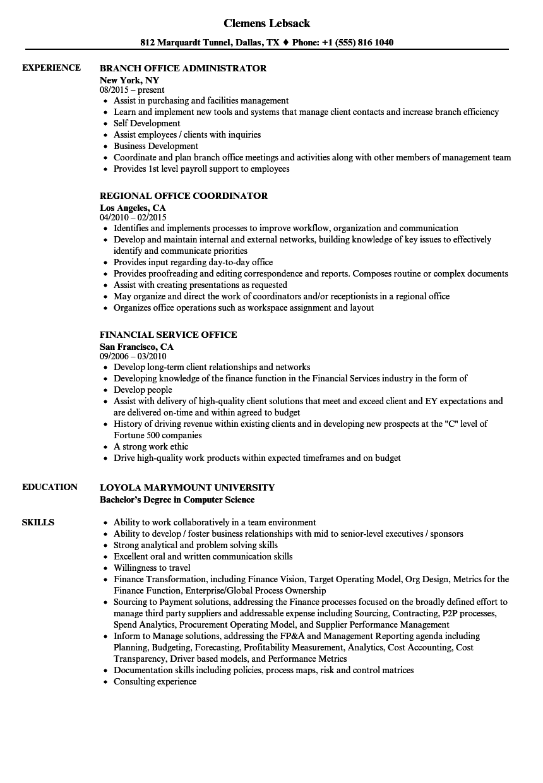 office resume samples