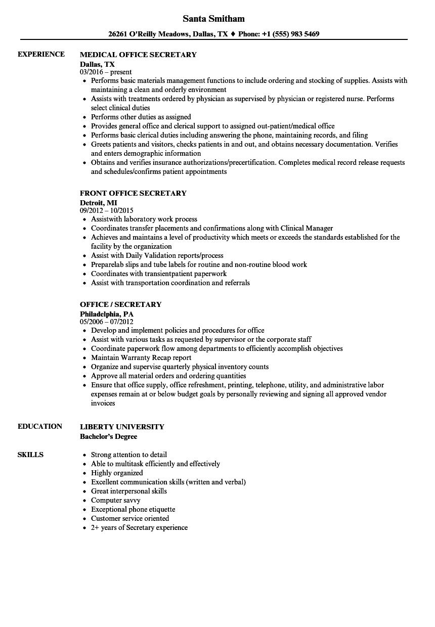 download office secretary resume sample as image file - Secretary Resume Sample