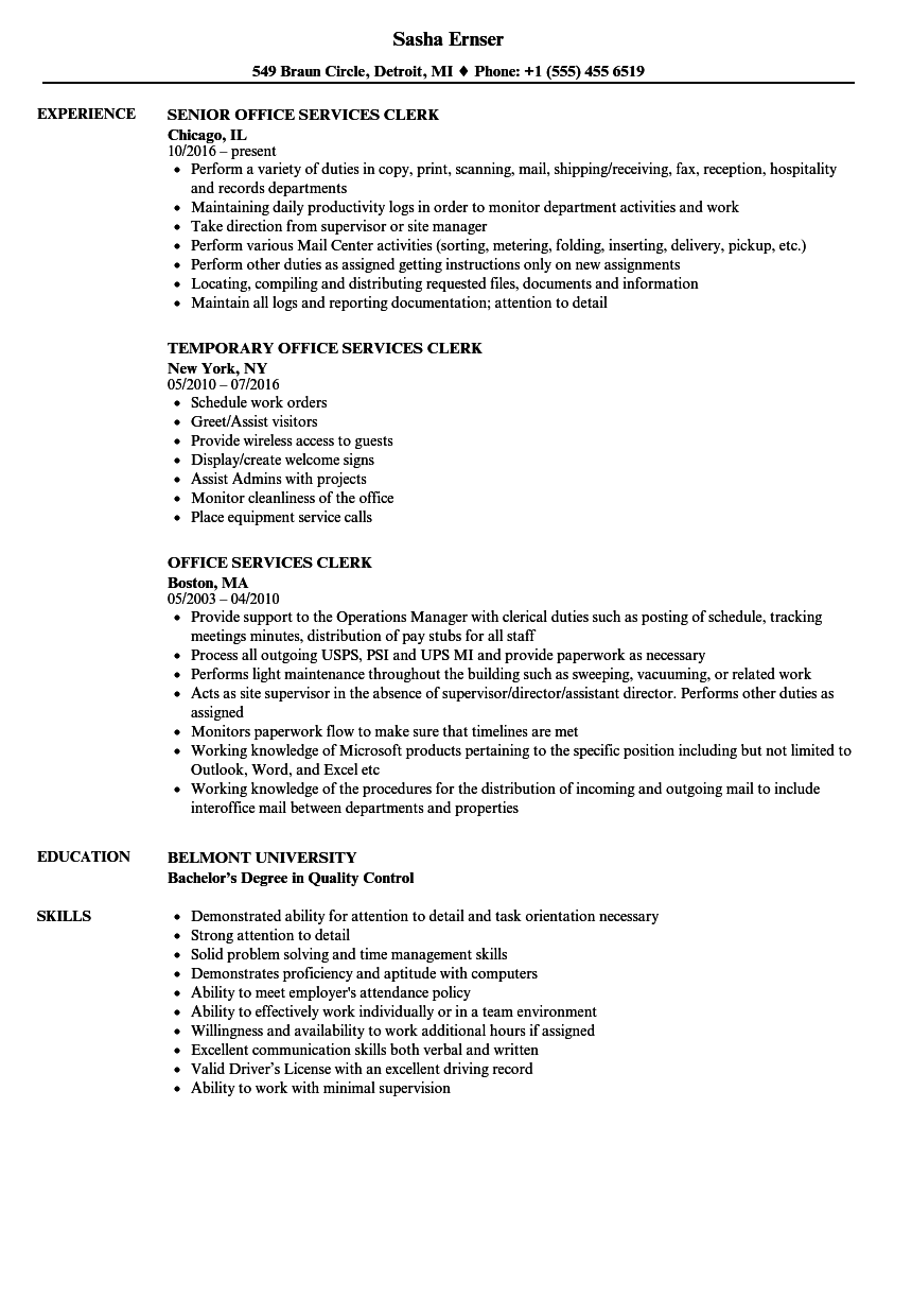 office services clerk resume samples