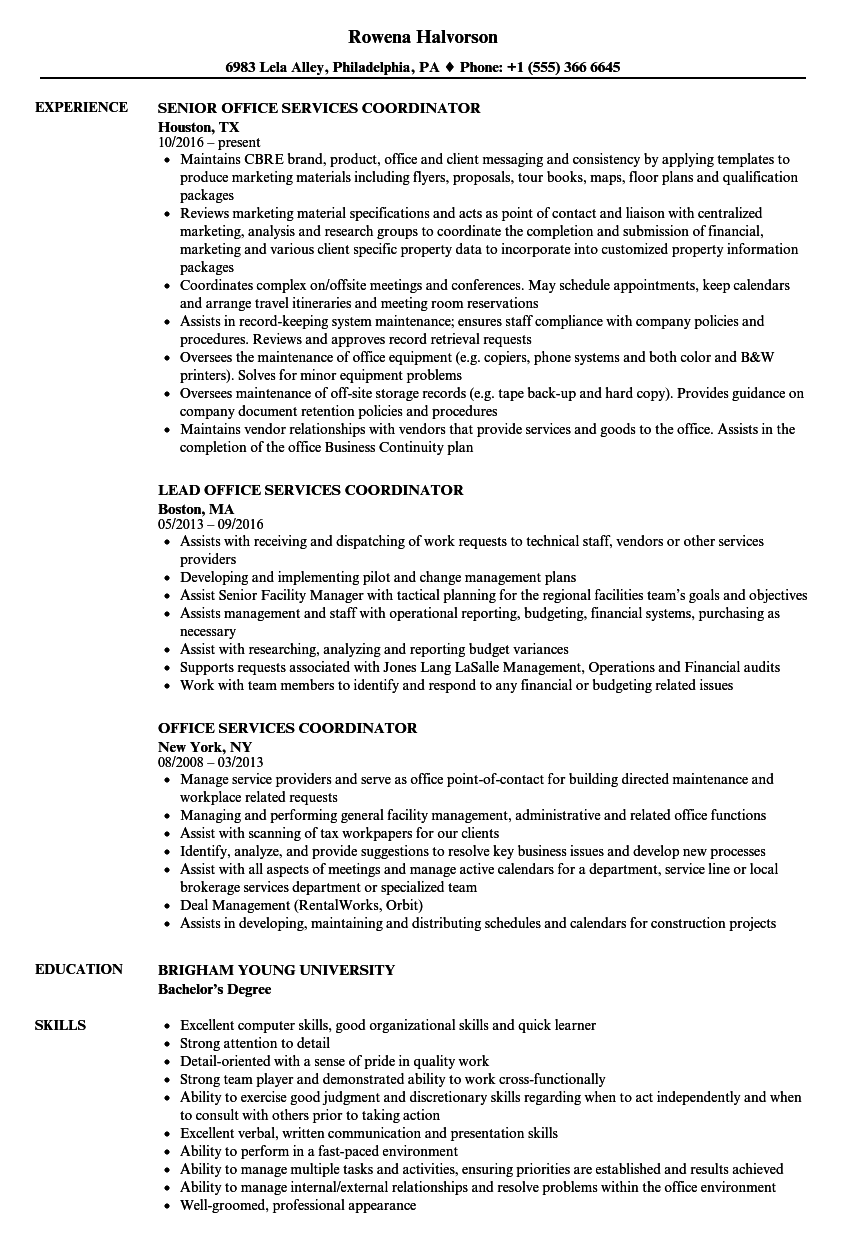 office services coordinator resume samples