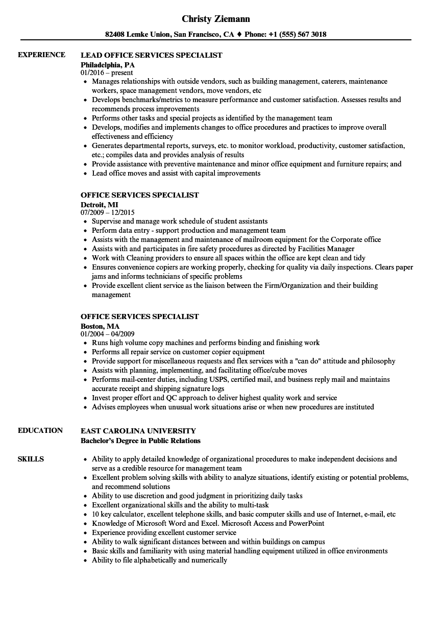 Office Services Specialist Resume Samples Velvet Jobs