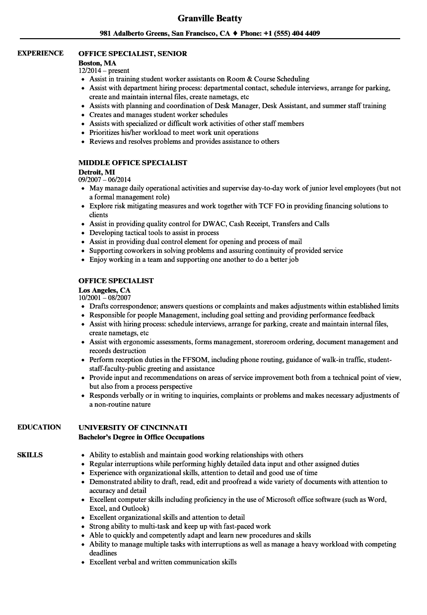 office specialist resume samples