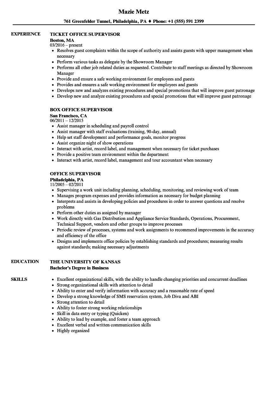 Office Supervisor Resume Samples | Velvet Jobs