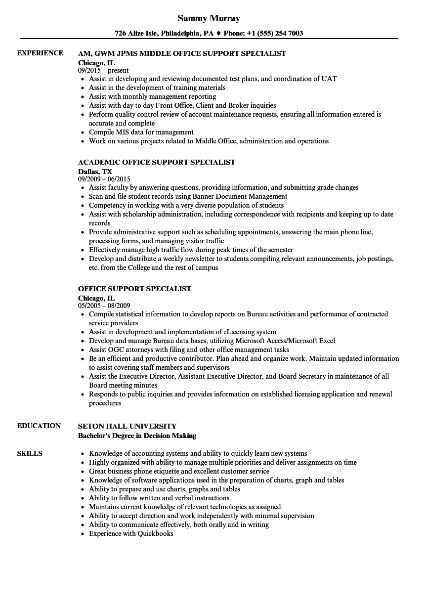 office support specialist resume samples