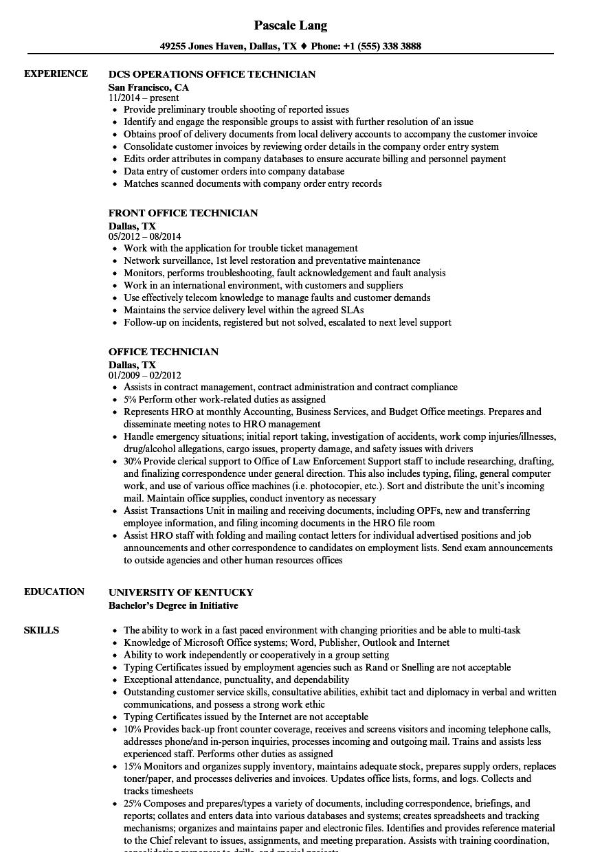 Office Technician Resume Samples | Velvet Jobs