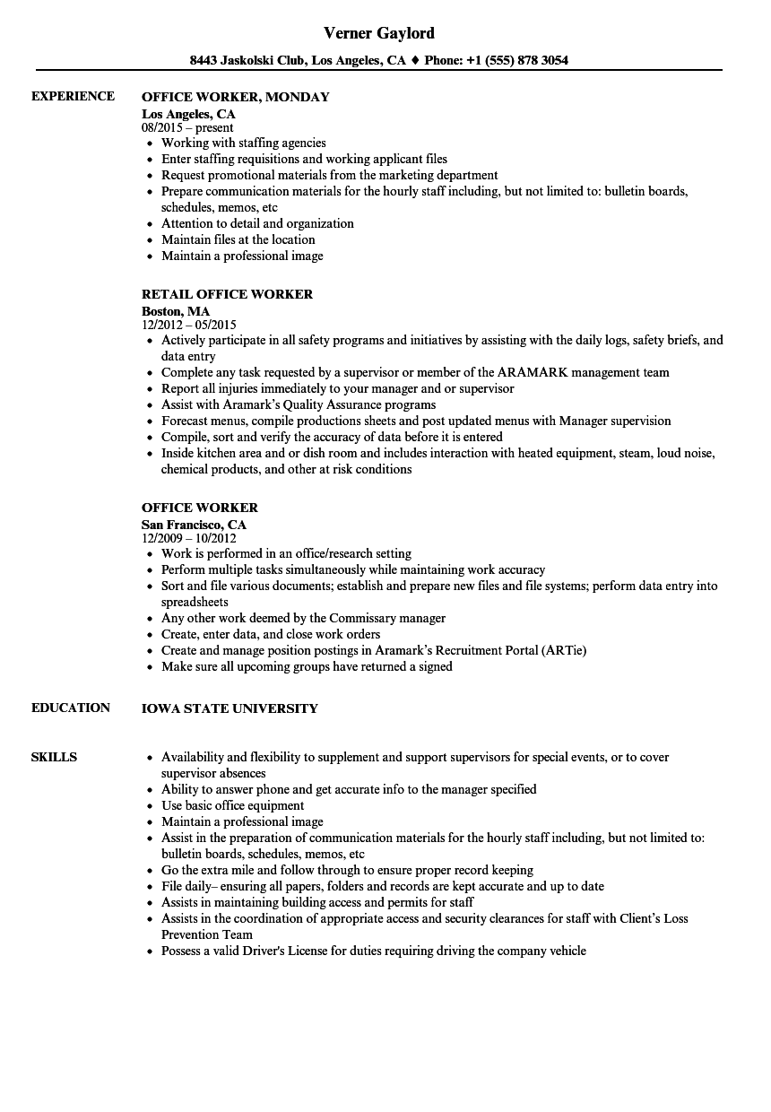 Office Worker Resume Samples