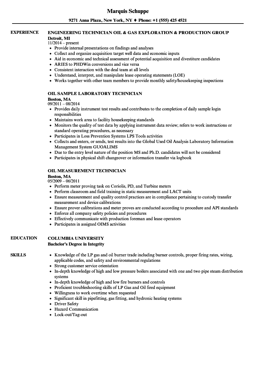 oil technician resume samples