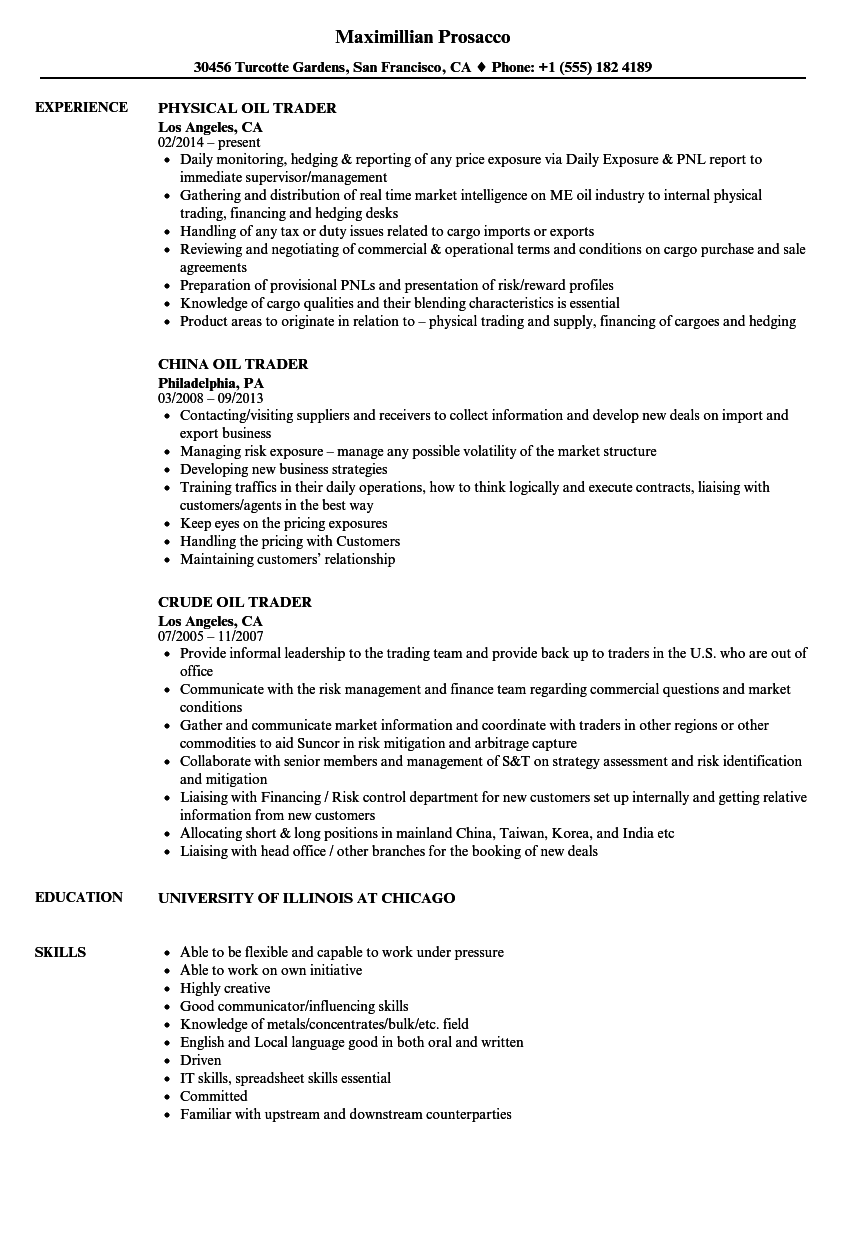 Oil Trader Resume Samples | Velvet Jobs