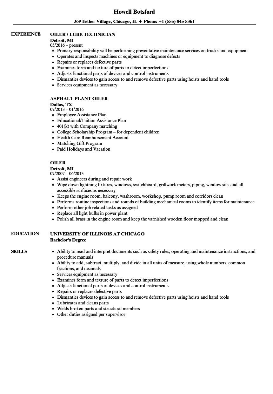 Download Oiler Resume Sample As Image File