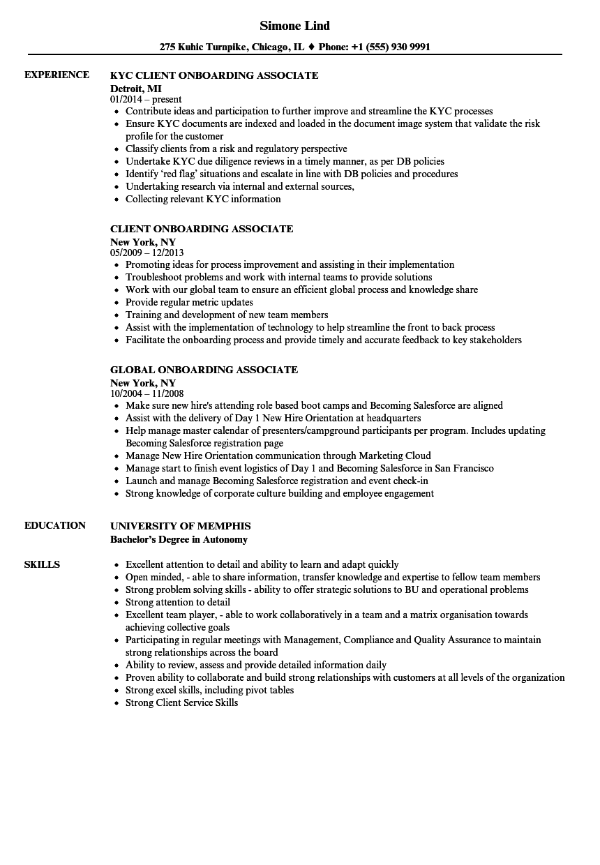 Onboarding Associate Resume Samples | Velvet Jobs
