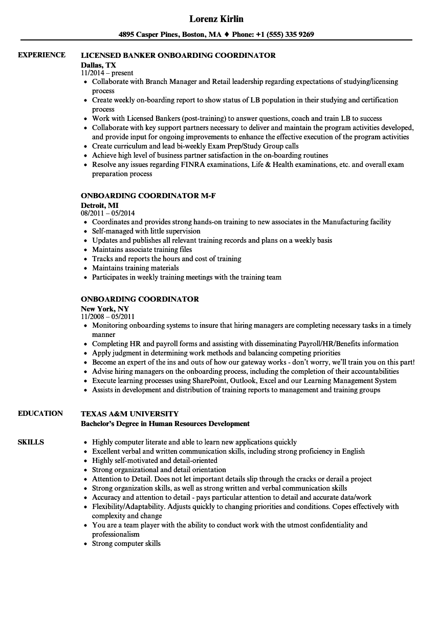 Download Onboarding Coordinator Resume Sample As Image File
