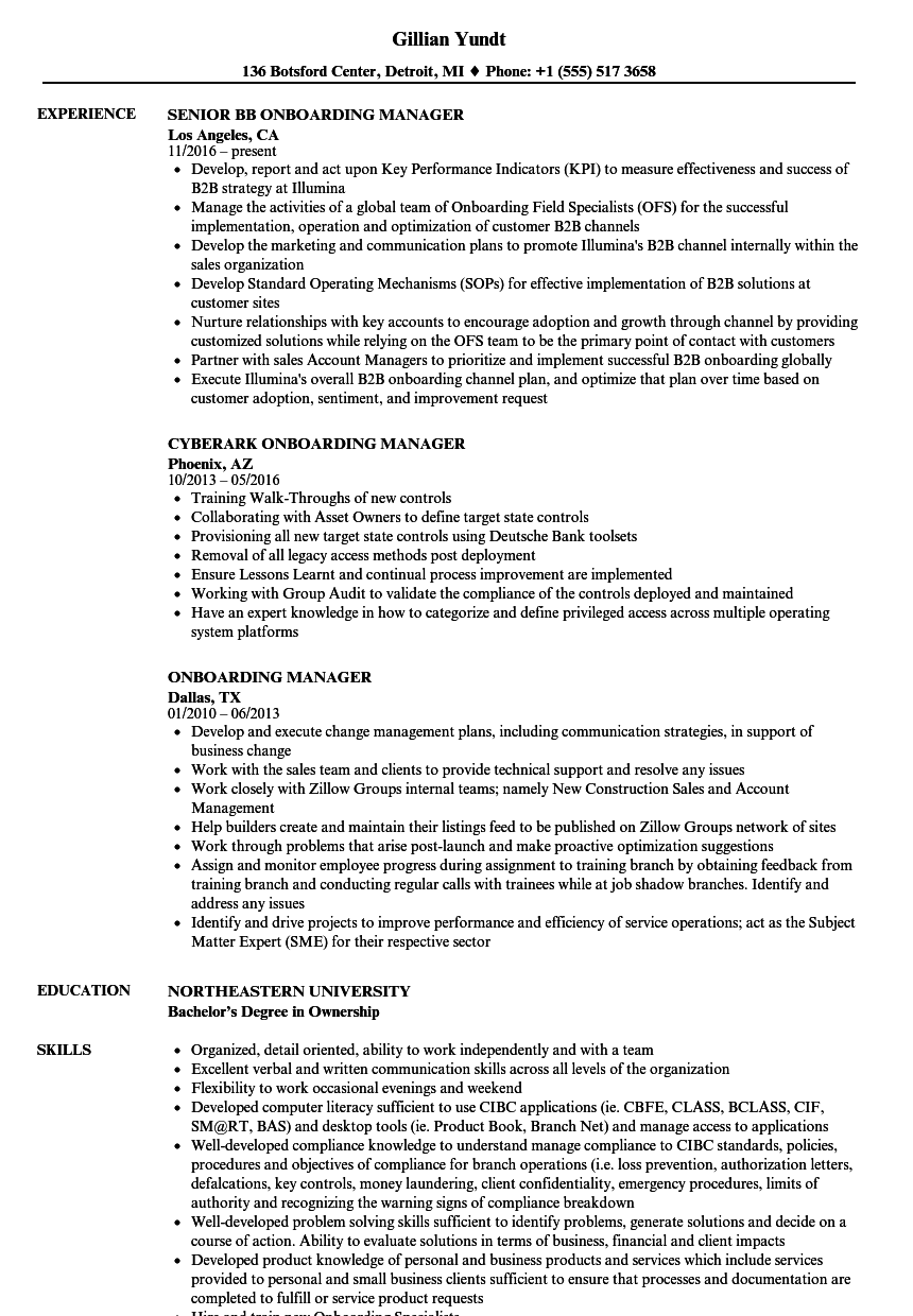 Onboarding Manager Resume Samples  Velvet Jobs