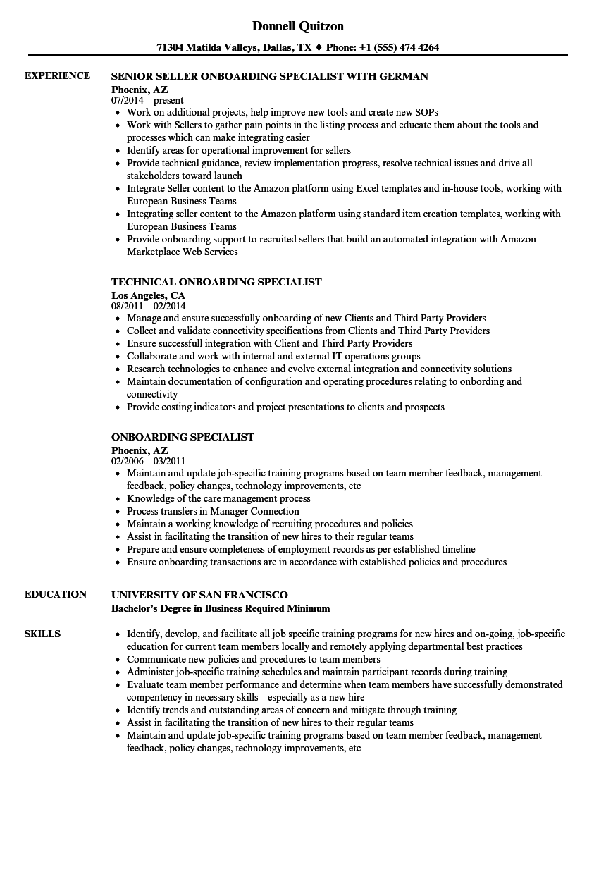 download onboarding specialist resume sample as image file - Onboarding Specialist