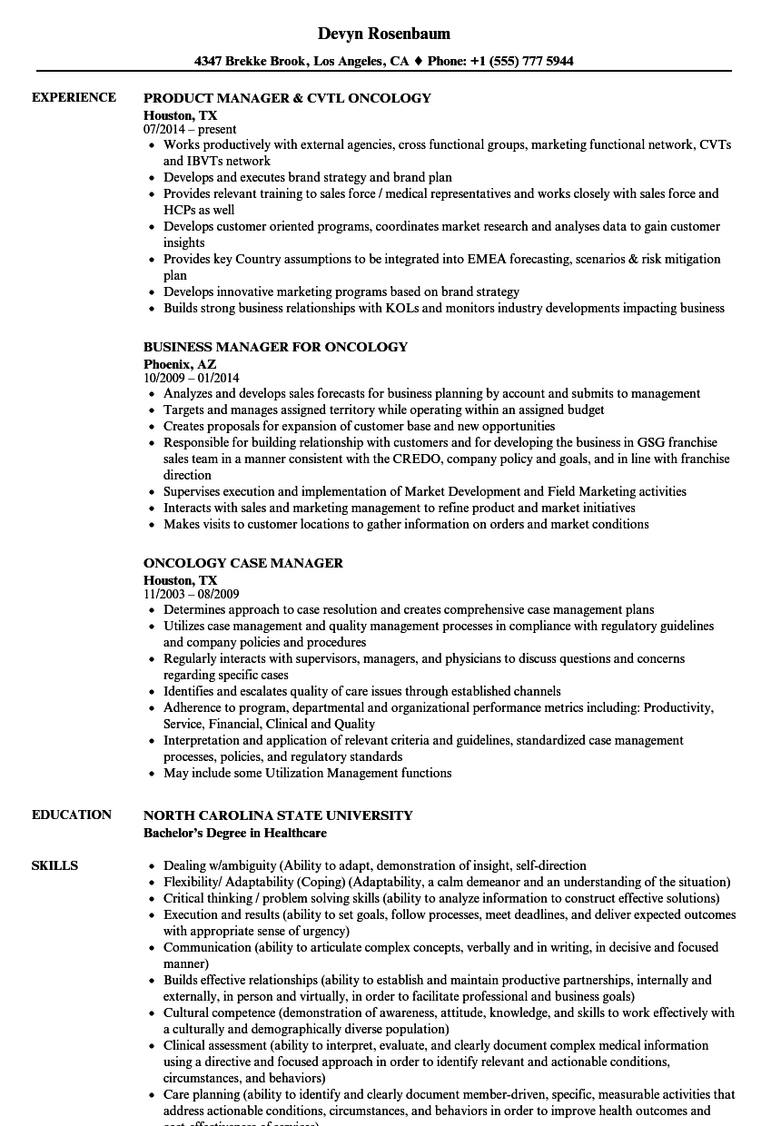 Oncology Manager Resume Samples | Velvet Jobs
