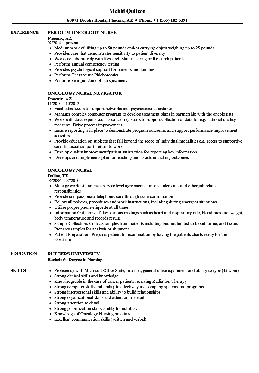 Oncology Nurse Resume Samples Velvet Jobs