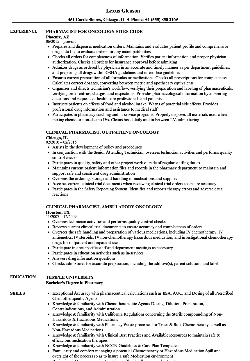Pharmacist Resume Format writing a narrative essay examples