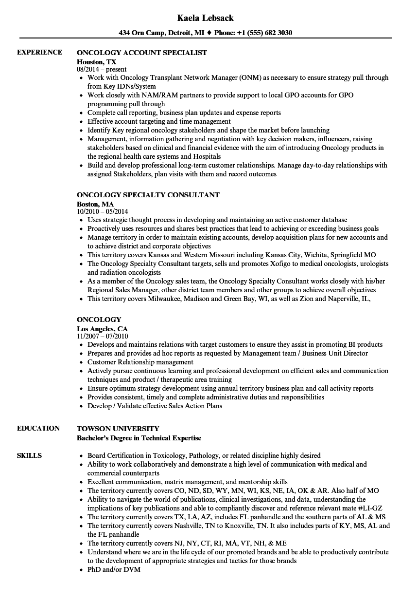 Oncology Resume Samples | Velvet Jobs