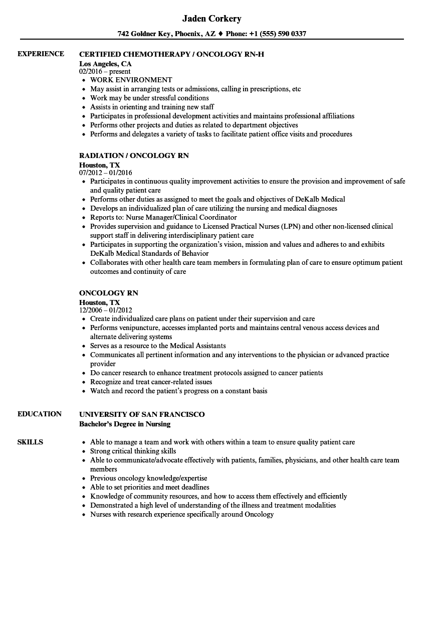 Oncology Rn Resume Samples Velvet Jobs
