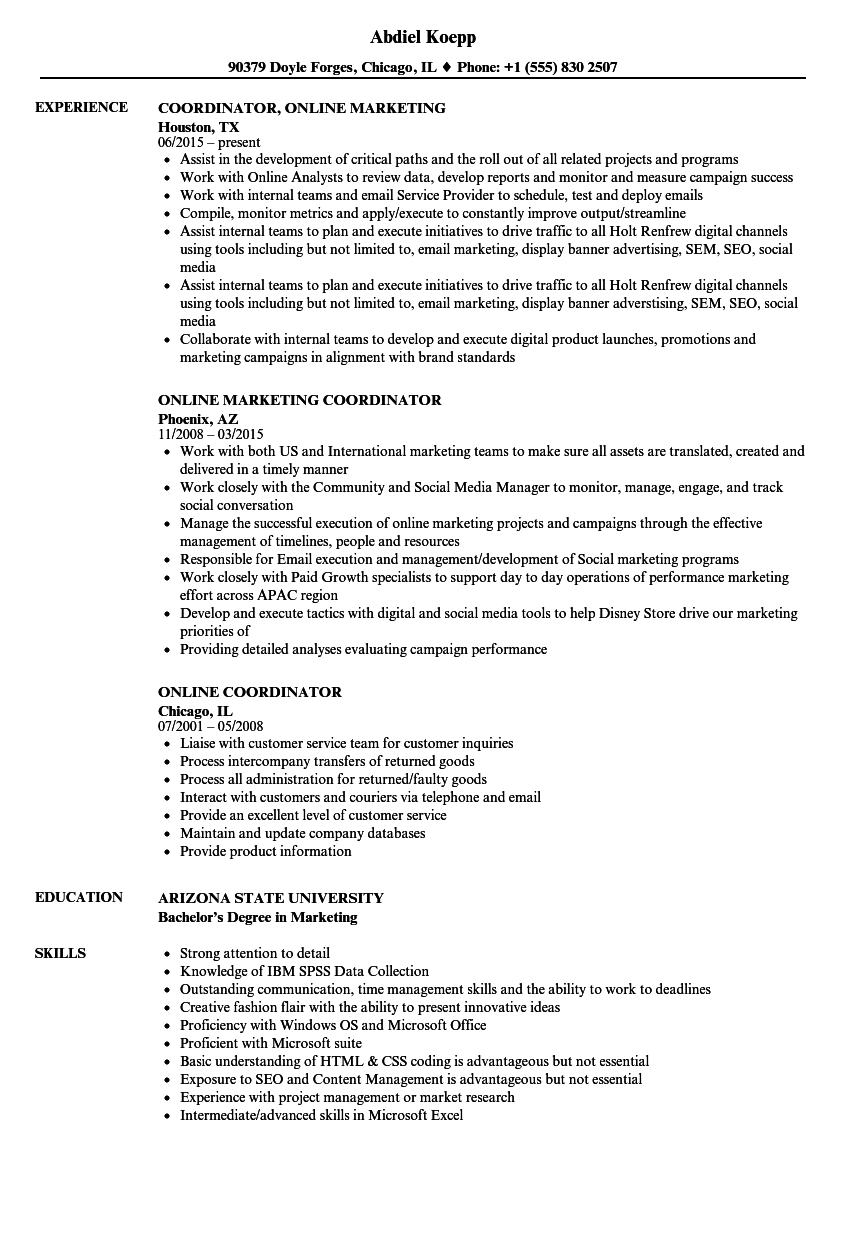 Online Coordinator Resume Samples