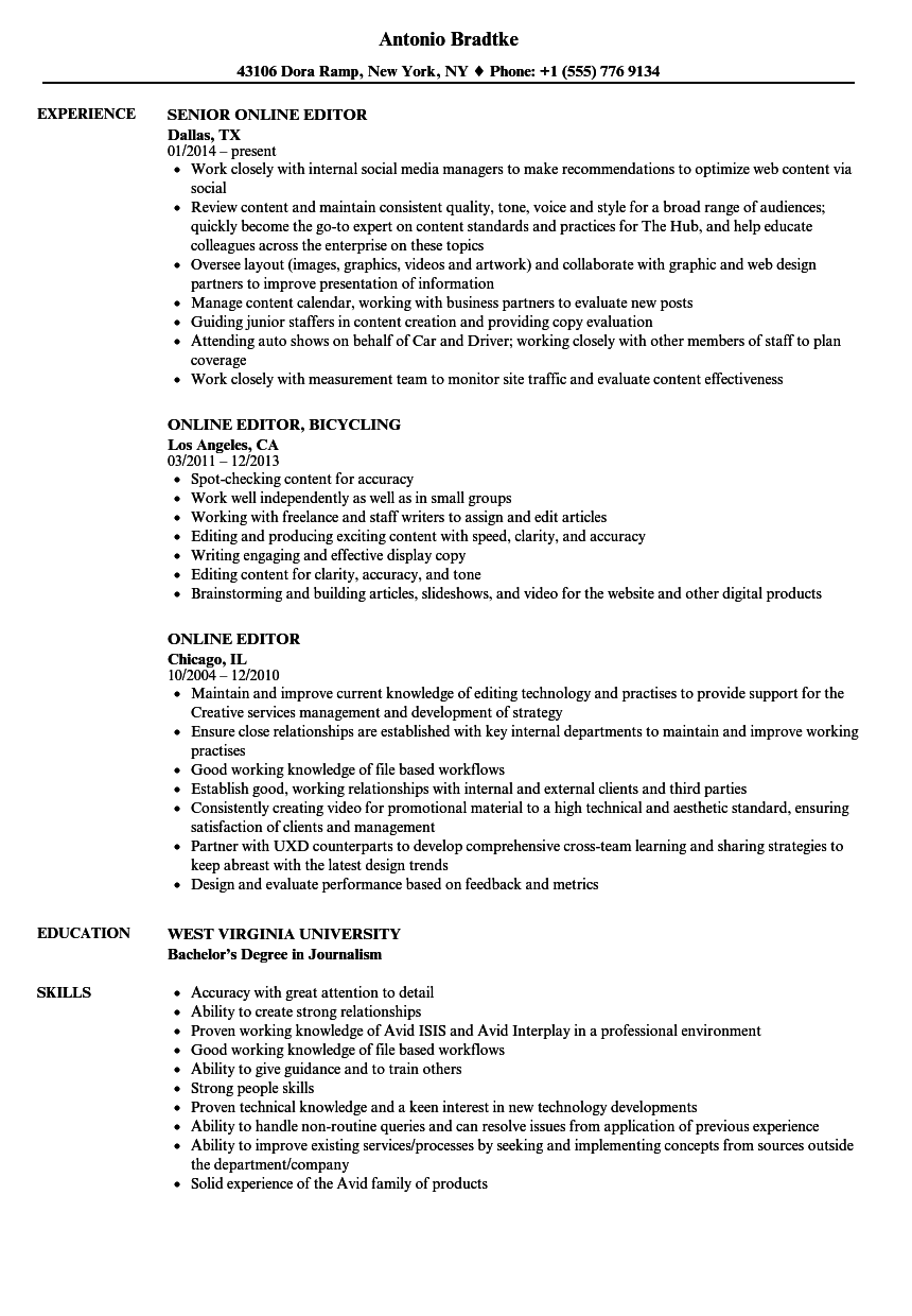 online editor resume samples