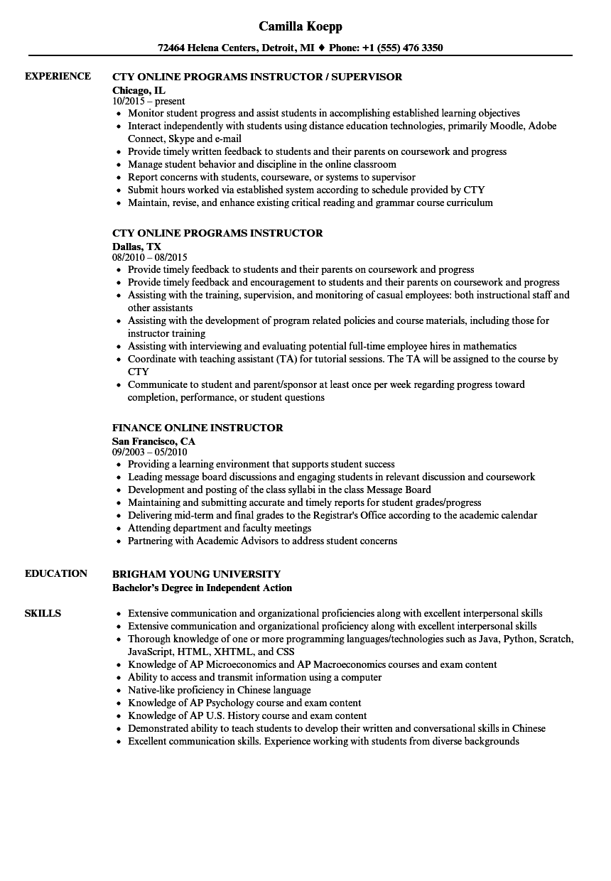 Online Instructor Resume Samples | Velvet Jobs