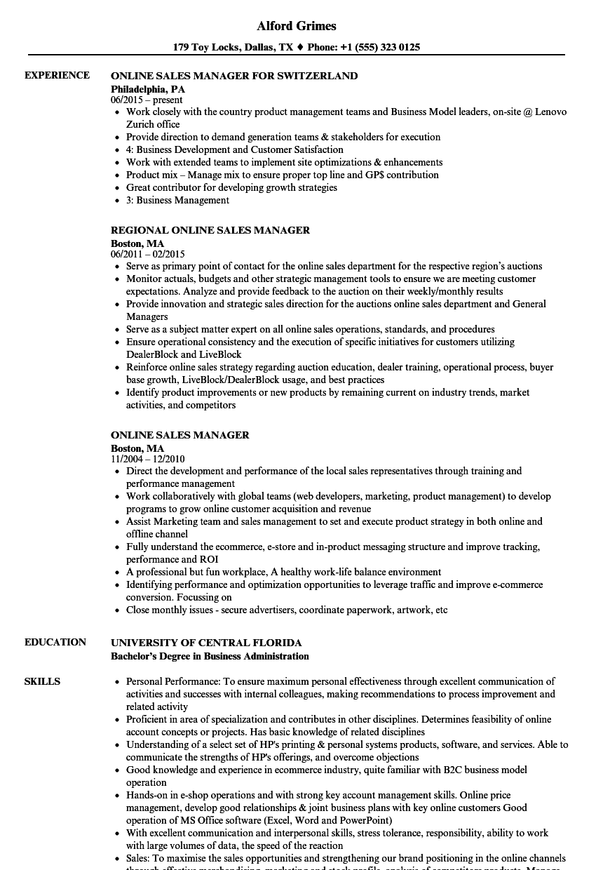 download online sales manager resume sample as image file - Business Manager Resume