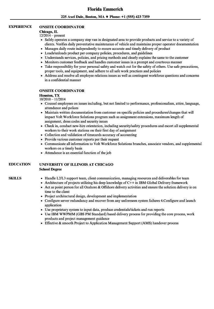 Onsite Coordinator Resume Samples | Velvet Jobs