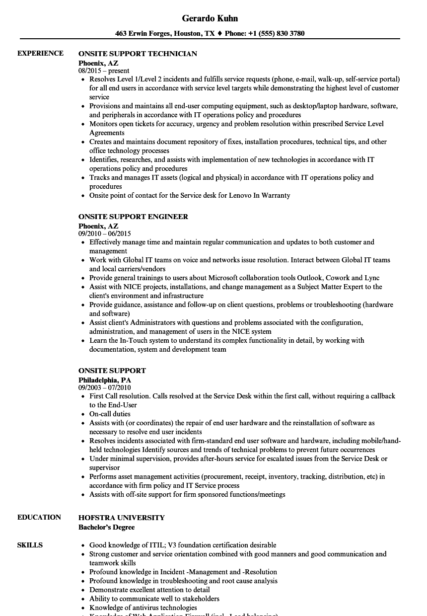 Download Onsite Support Resume Sample As Image File  Communication On Resume