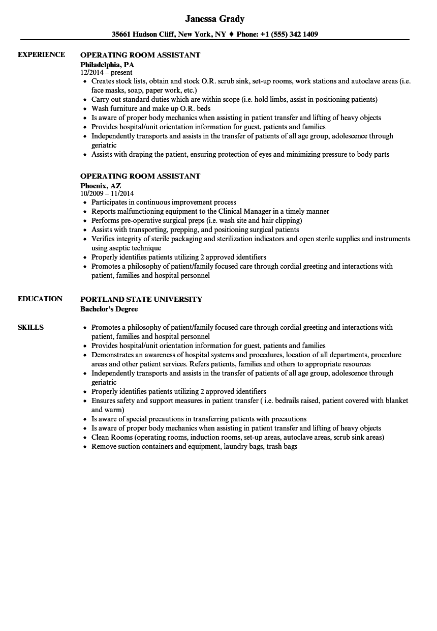 operating room assistant resume samples velvet jobs