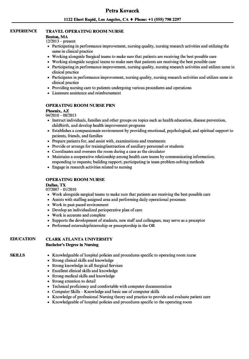 Operating Room Nurse Resume Samples | Velvet Jobs