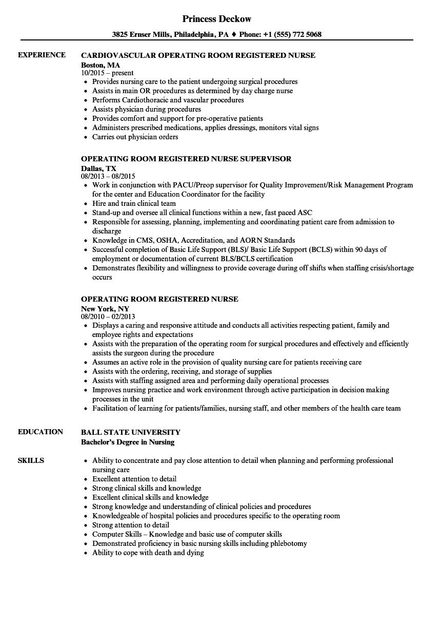 Operating Room Registered Nurse Resume Samples | Velvet Jobs