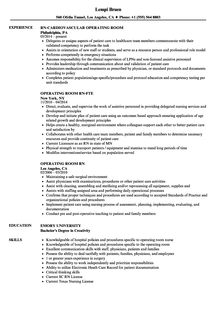 download operating room rn resume sample as image file - Operating Room Nurse Resume