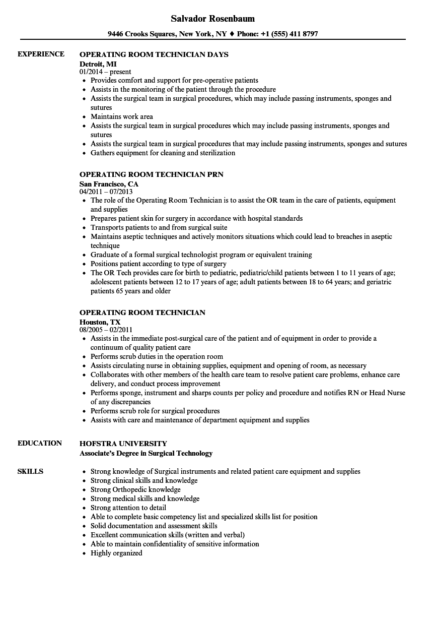 Great Download Operating Room Technician Resume Sample As Image File