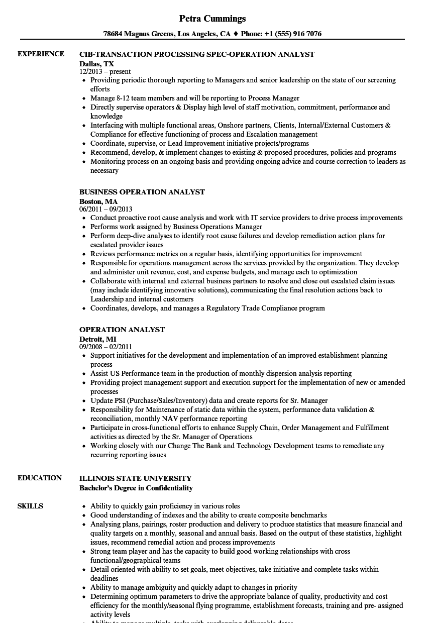 operation analyst resume samples